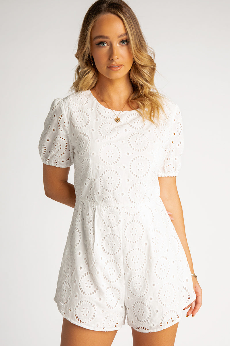 HIGH TEA WHITE LACE PLAYSUIT Clothing DISSH EXCLUSIVE 6 WHITE