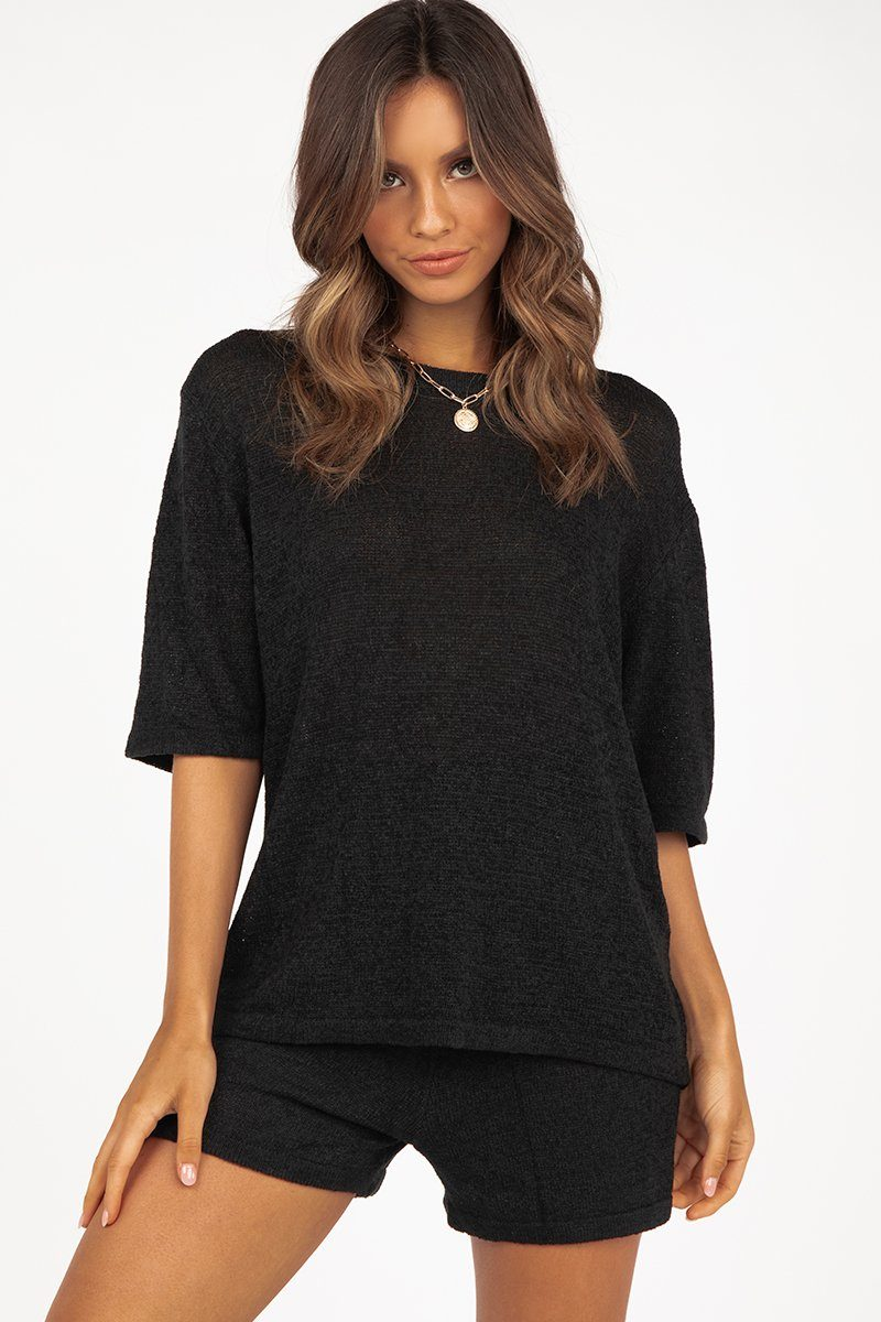 ISSY BLACK KNIT BOXY TEE Clothing DISSH Boutiques S/M BLACK