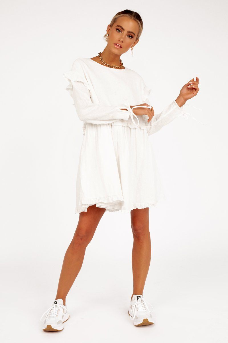 SARA WHITE BABYDOLL DRESS Clothing DISSH Boutiques 6 WHITE