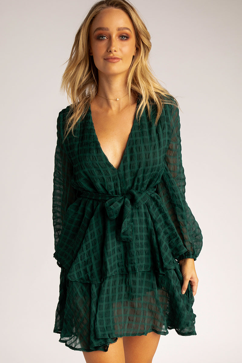 LOOKING GREEN LAYERED DRESS Clothing DISSH EXCLUSIVE M GREEN