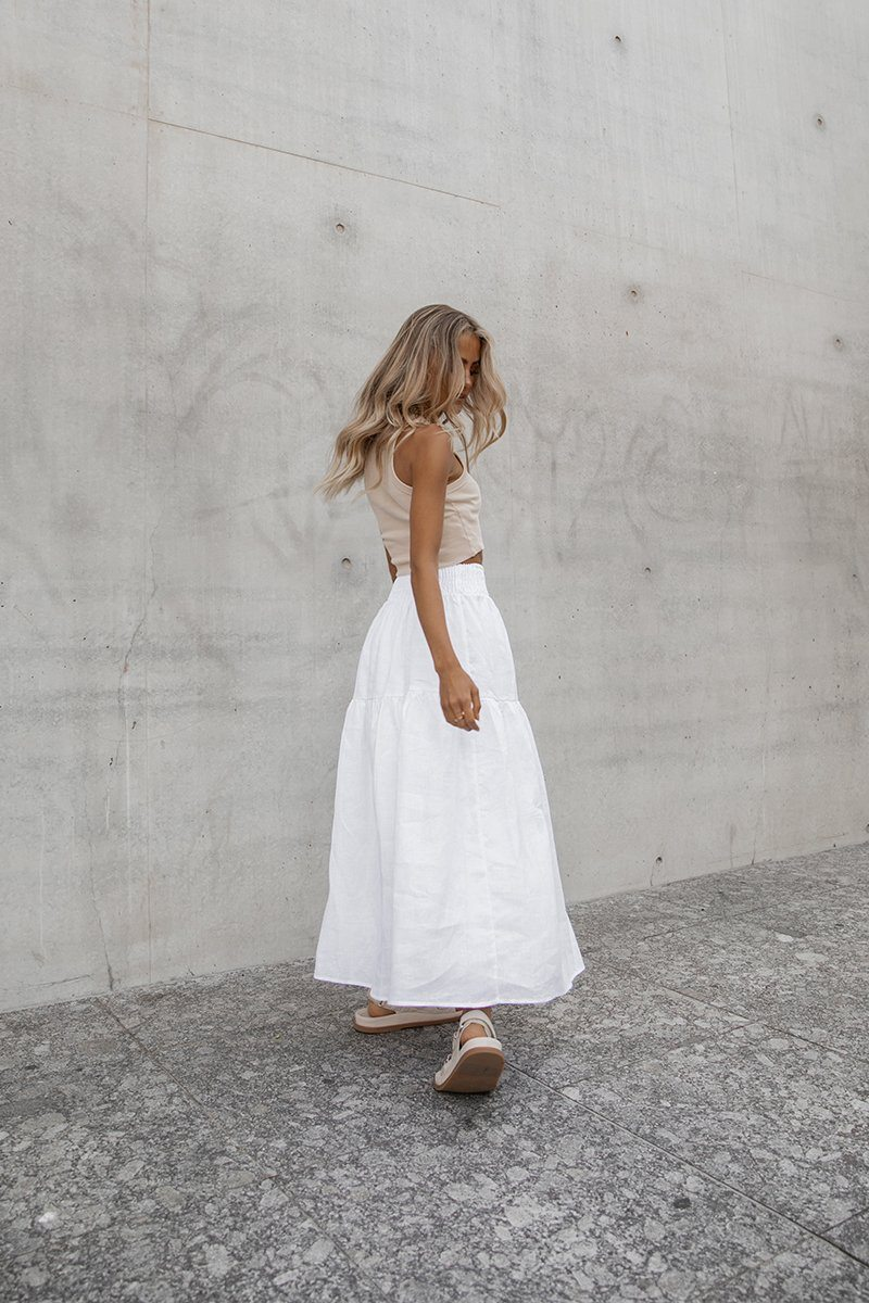 MAGGIE WHITE LINEN SHIRRED SKIRT Clothing DISSH Boutiques