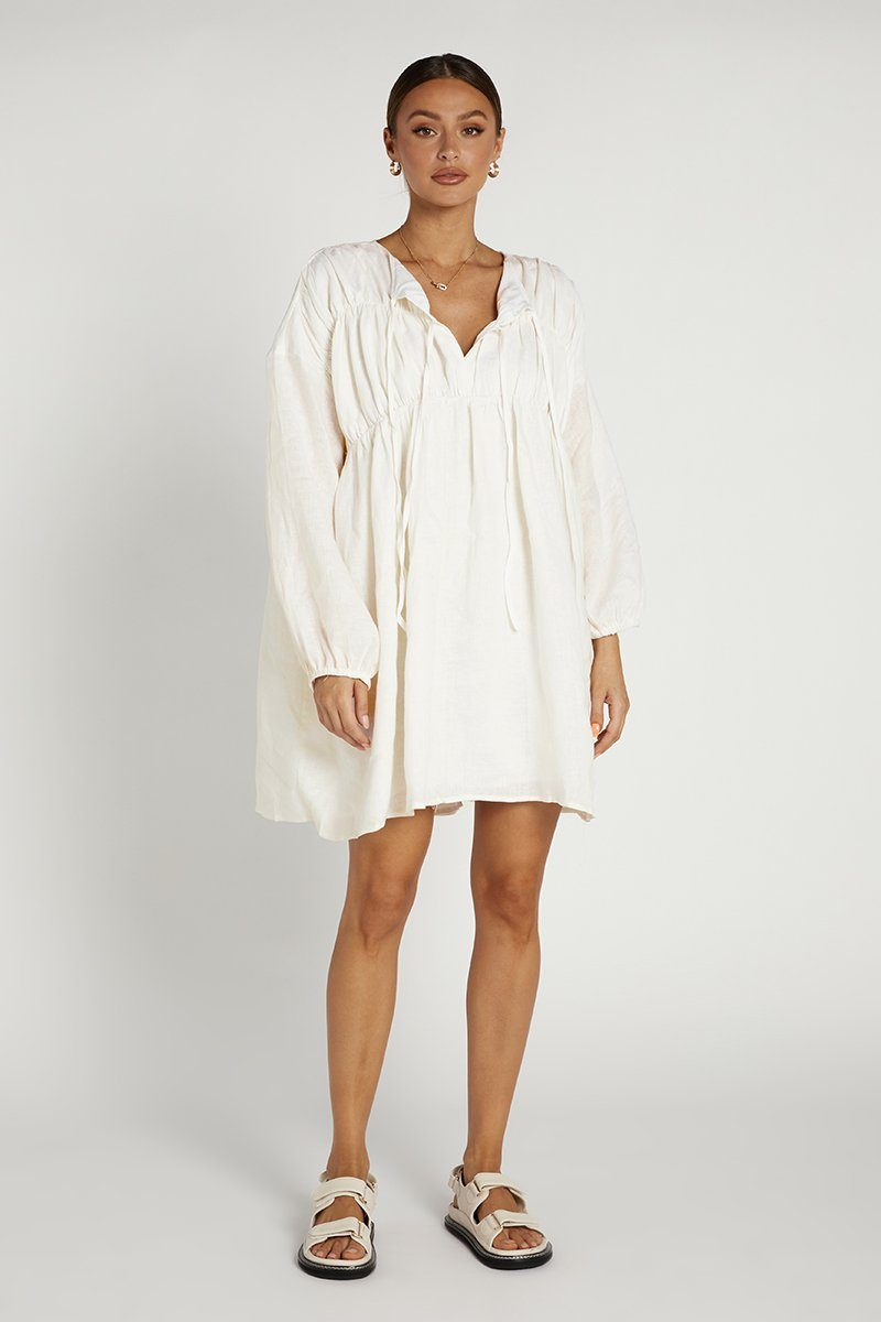 SNDYS ARIES LINEN DRESS WHITE Clothing DISSH Boutiques XS WHITE
