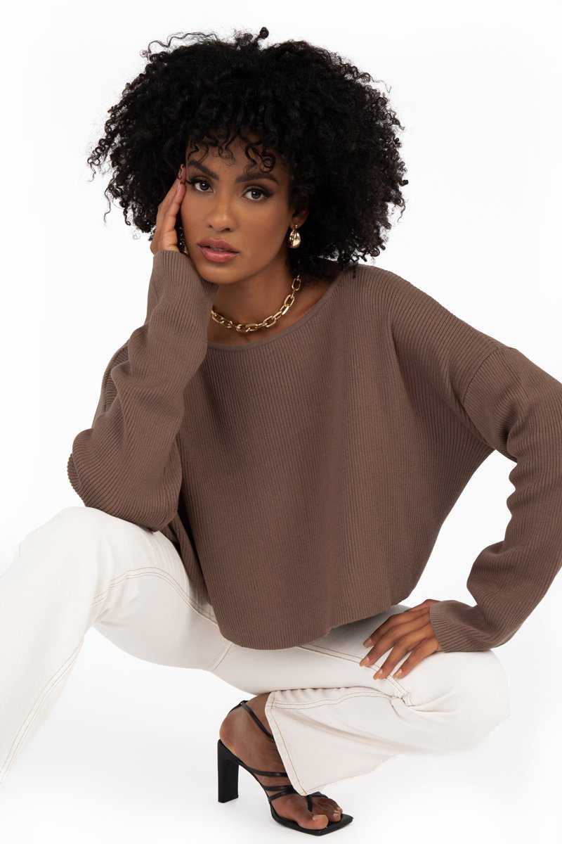 SNDYS CHOCOLATE KNIT JUMPER Clothing DISSH Boutiques L CHOCOLATE