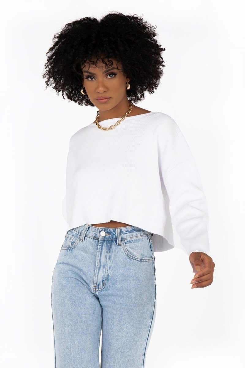SNDYS WHITE KNIT JUMPER Clothing DISSH Boutiques L WHITE