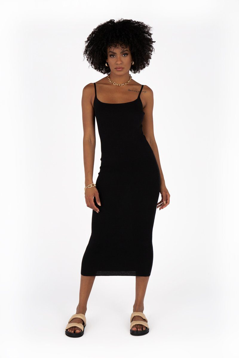 SALLY BLACK KNIT MIDI DRESS Clothing DISSH Boutiques