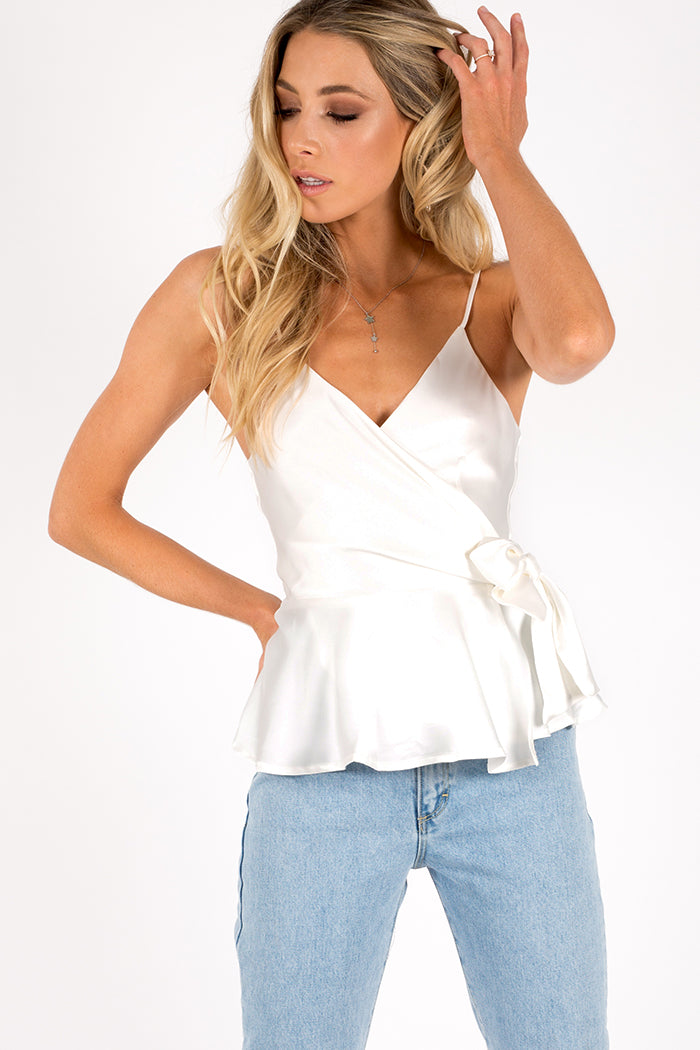 MEANT TO BE WRAP CAMI Clothing DISSH Boutiques 6 WHITE