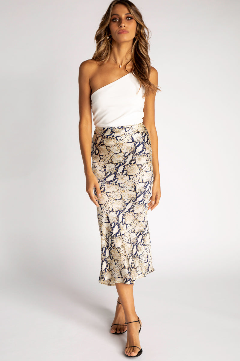 IN THE OPEN SNAKE SLIP MIDI SKIRT Clothing DISSH EXCLUSIVE 10 GREY