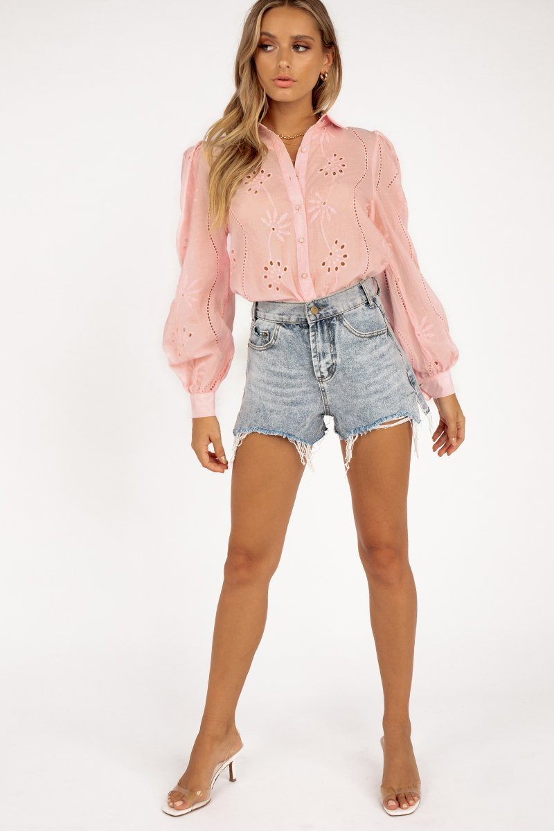 KNOWLES PINK EMBROIDERED BLOUSE Clothing DISSH Boutiques