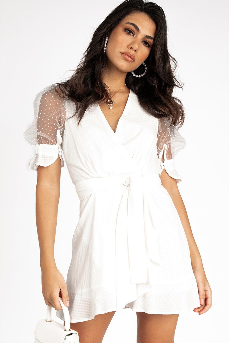 RUNAWAY ABI MINI DRESS WHITE Clothing DISSH Boutiques