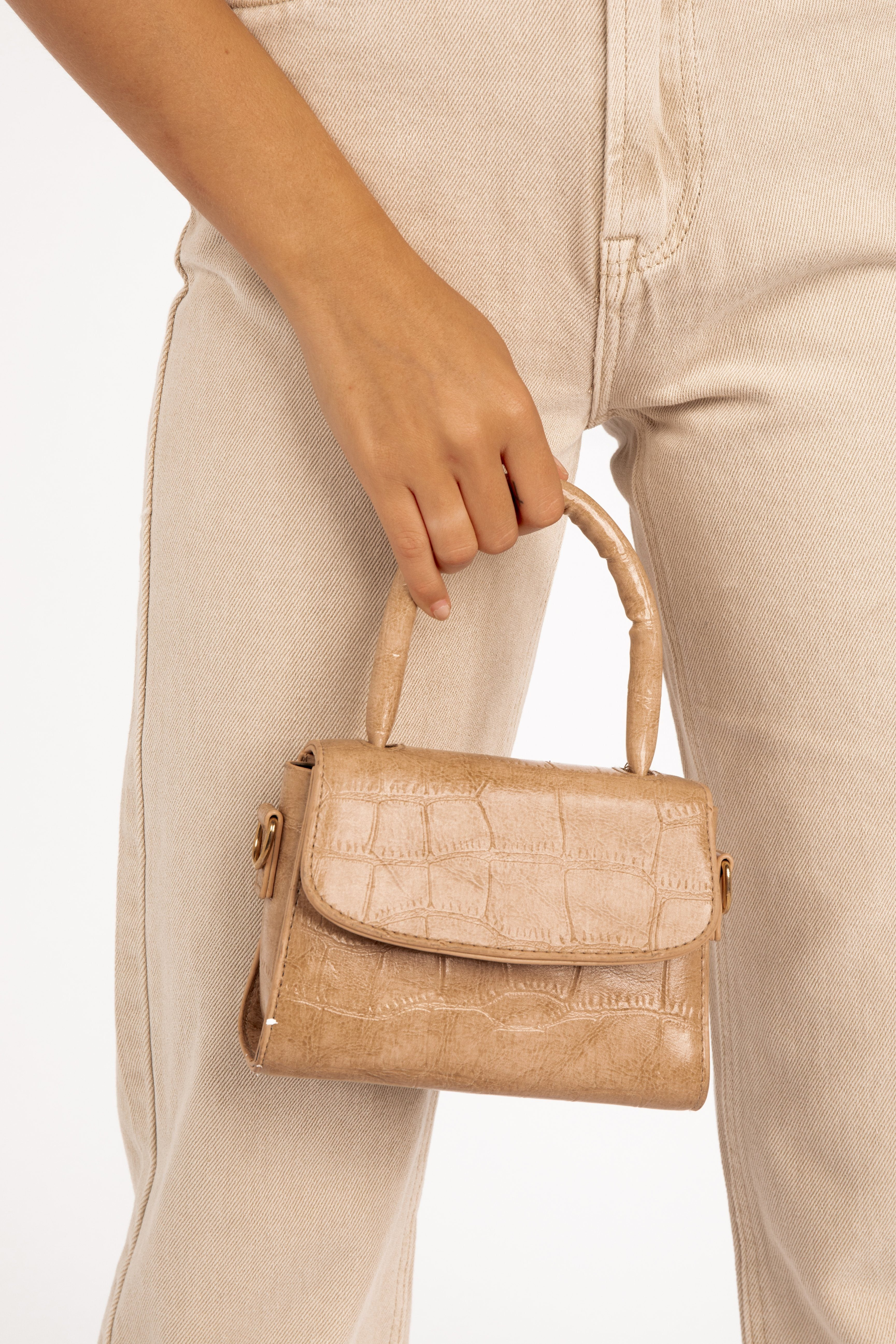 IT GIRL BEIGE MINI CROC BAG Accessories DISSH Boutiques O/S BEIGE