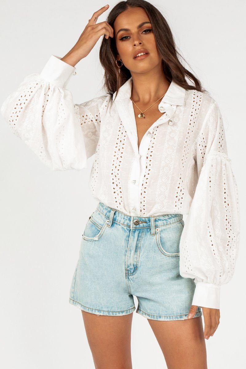 IN SICILY EMBROIDERED WHITE SHIRT Clothing DISSH Boutiques 6 WHITE