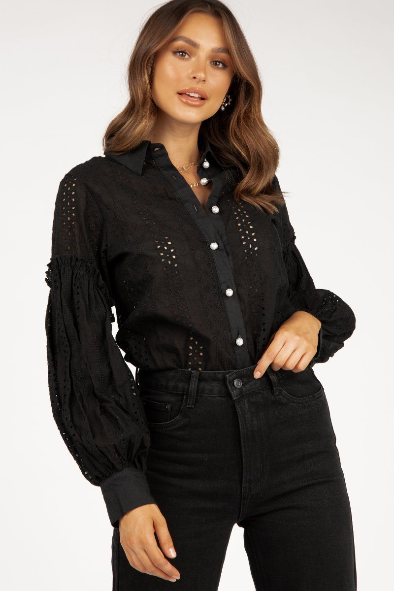 PENNY BLACK ANGLAISE SHIRT Clothing DISSH Boutiques 10 BLACK