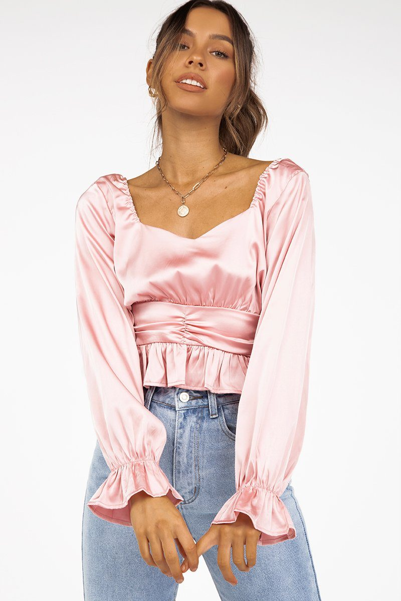 PENNY SWEET HEART PINK CROP TOP Clothing DISSH Boutiques 6 PINK