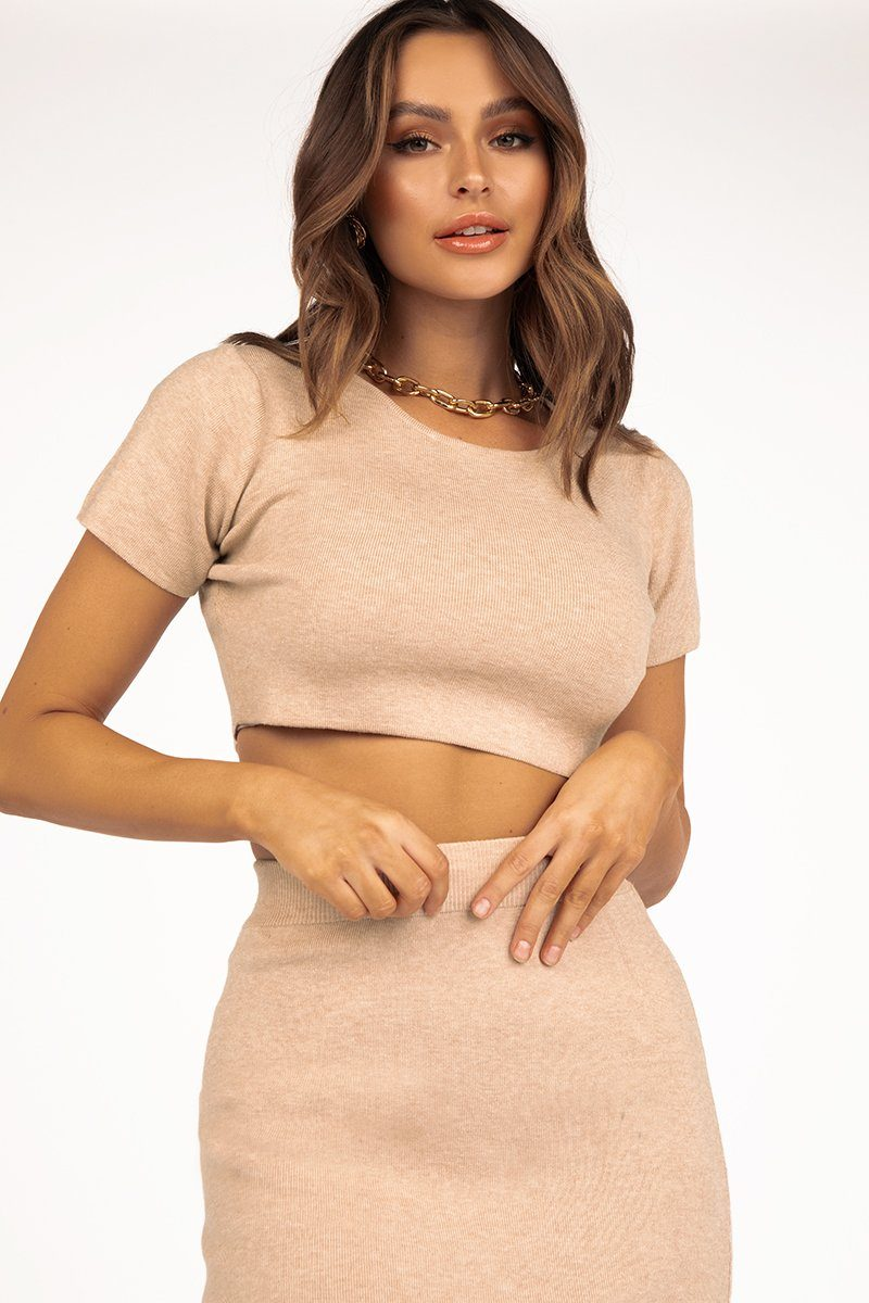 SO GOOD BEIGE KNIT TOP Clothing DISSH EXCLUSIVE S BEIGE