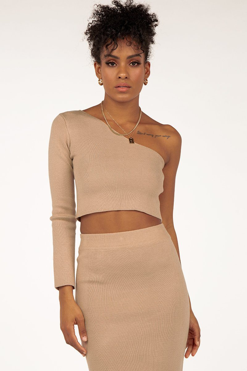 TILLY ONE SHOULDER BEIGE KNIT Clothing DISSH Boutiques S BEIGE
