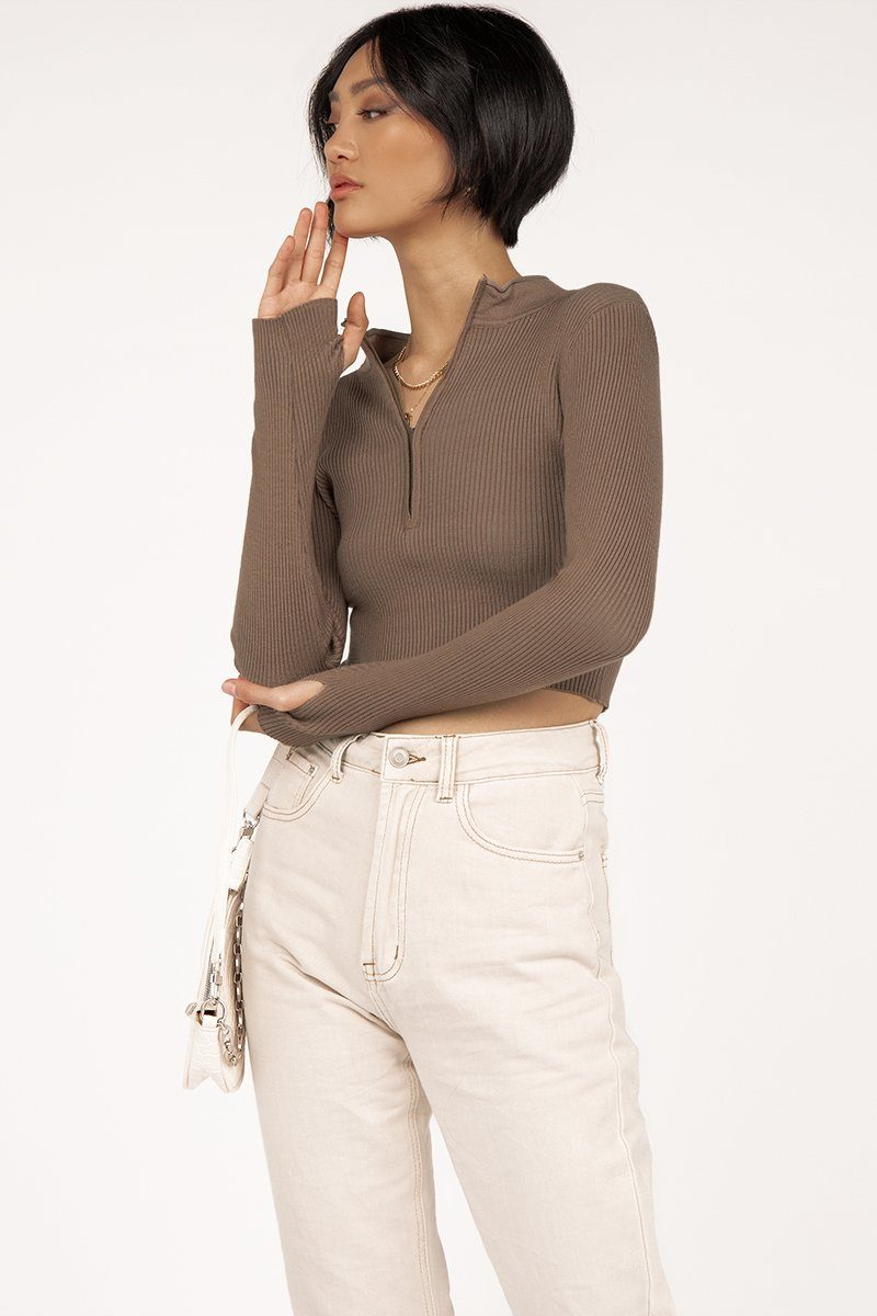 MINUTES CHOC ZIP FRONT KNIT TOP Clothing DISSH Boutiques S CHOCOLATE
