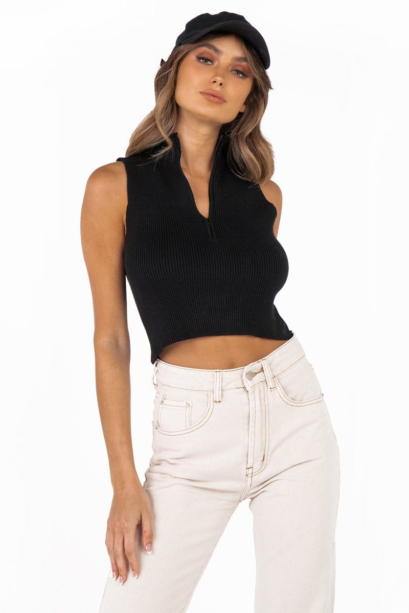 KIRBY BLACK HIGH NECK KNIT TOP Clothing DISSH Boutiques S BLACK