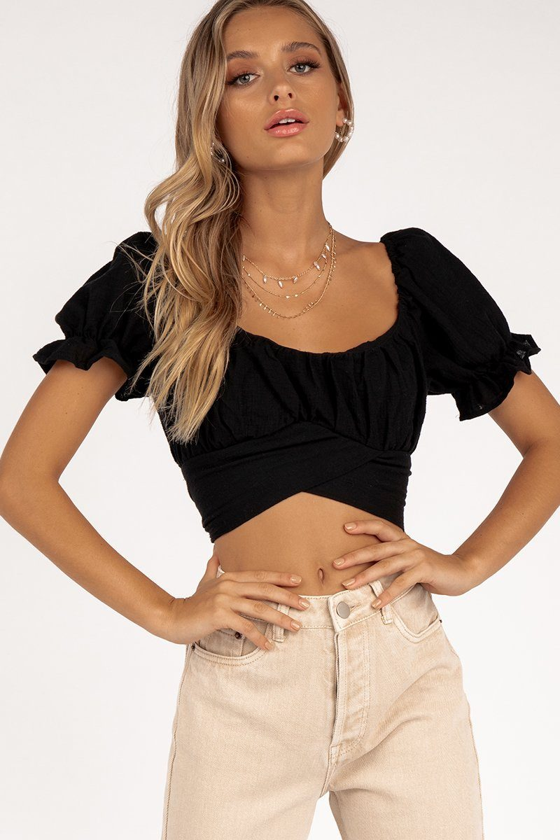 ONLY YOU BLACK MAIDEN CROP TOP Clothing DISSH Boutiques 6 BLACK