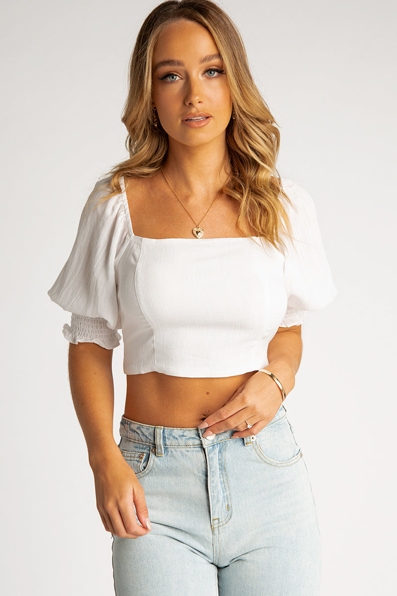 LOTTIE SQUARE NECK WHITE CROP TOP Clothing DISSH Boutiques 8 WHITE