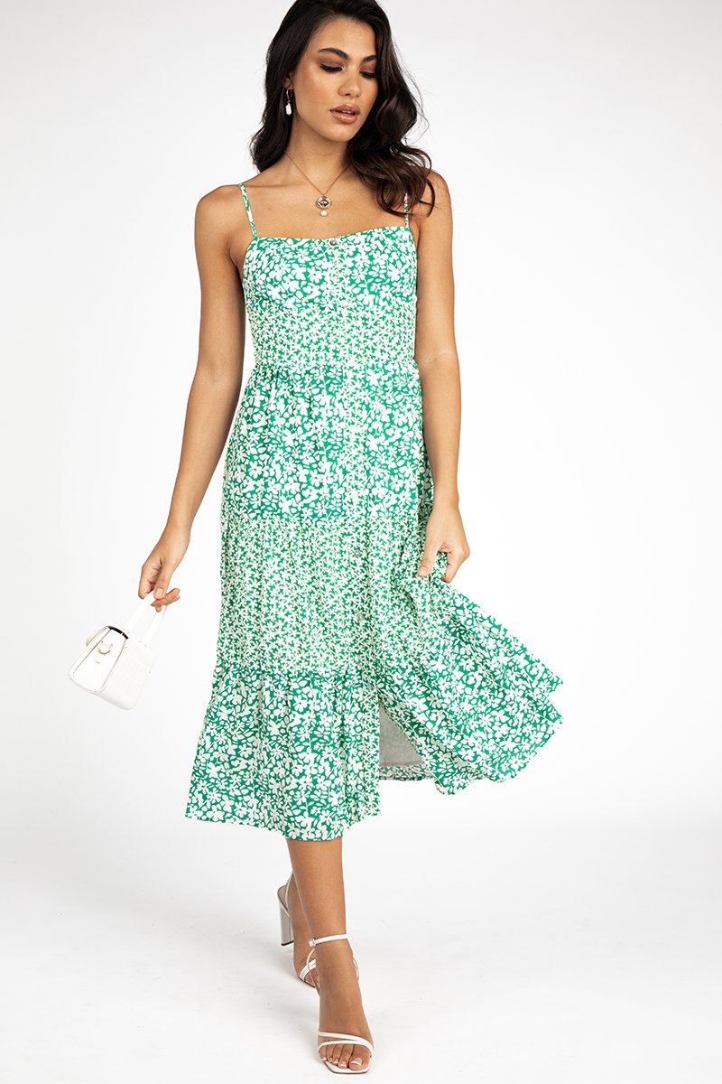 JADED GREEN FLORAL MIDI DRESS Clothing DISSH Boutiques 10 GREEN
