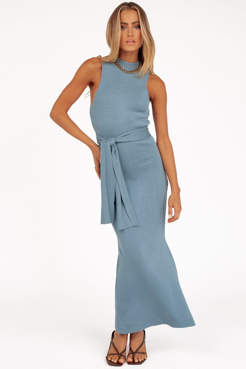 JUNE BLUE SPLIT KNIT MIDI DRESS Clothing DISSH Boutiques 6 BLUE