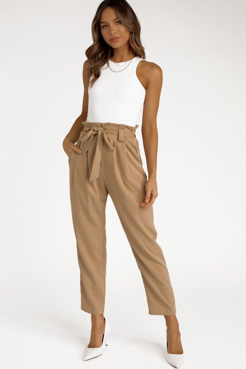 ONE TIME LATTE TAPERED PANT Clothing DISSH Boutiques 6 TAN