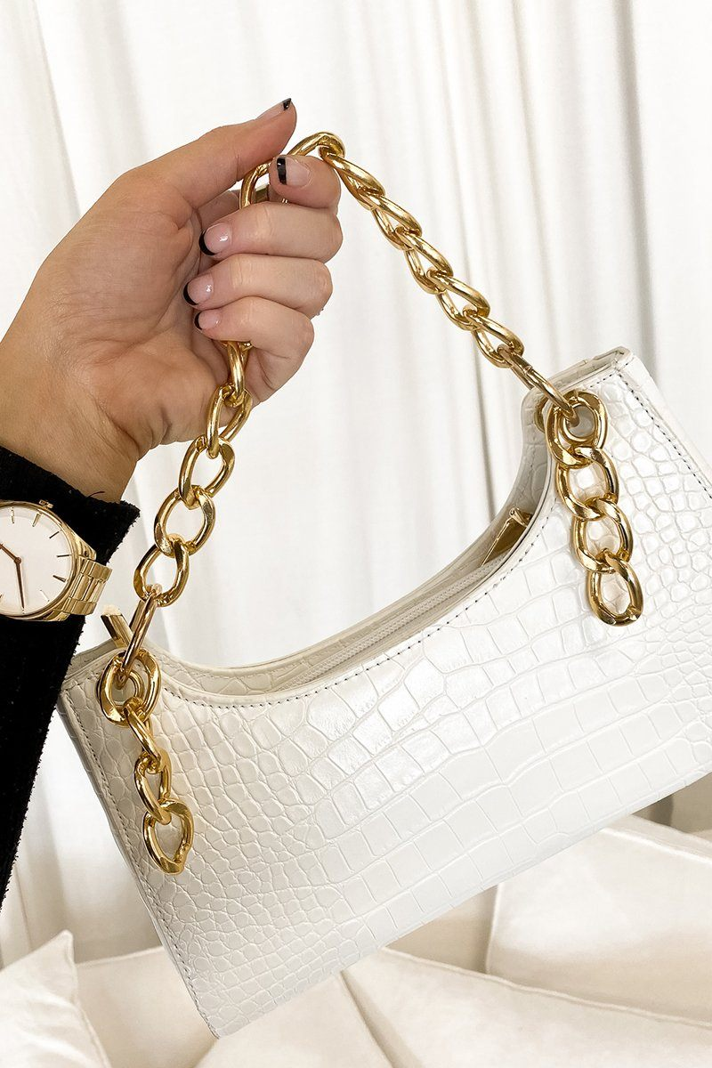 IMMY WHITE CROC BAGUETTE BAG Accessories DISSH Boutiques O/S WHITE