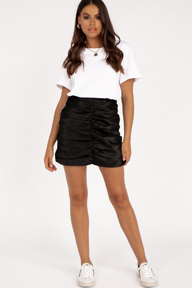RUCHED BUBBLE SKIRT BLACK Clothing DISSH Boutiques 12 BLACK