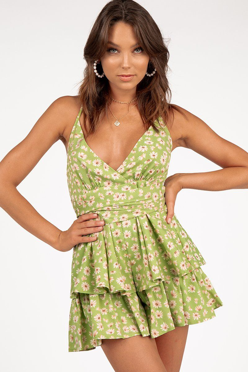 LARA GREEN CROSS BACK PLAYSUIT Clothing DISSH Boutiques 14 GREEN