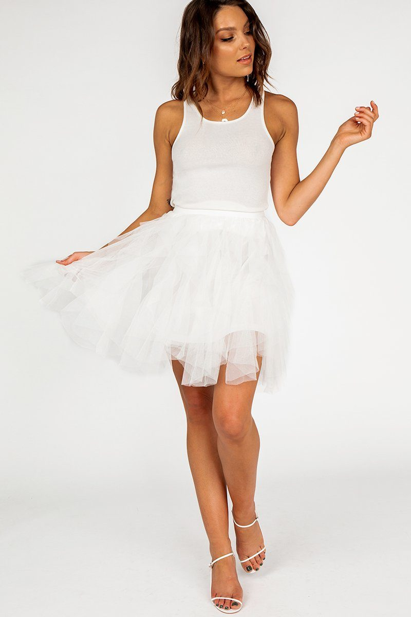 LUCY WHITE TULLE MINI SKIRT Clothing DISSH Boutiques M/L WHITE