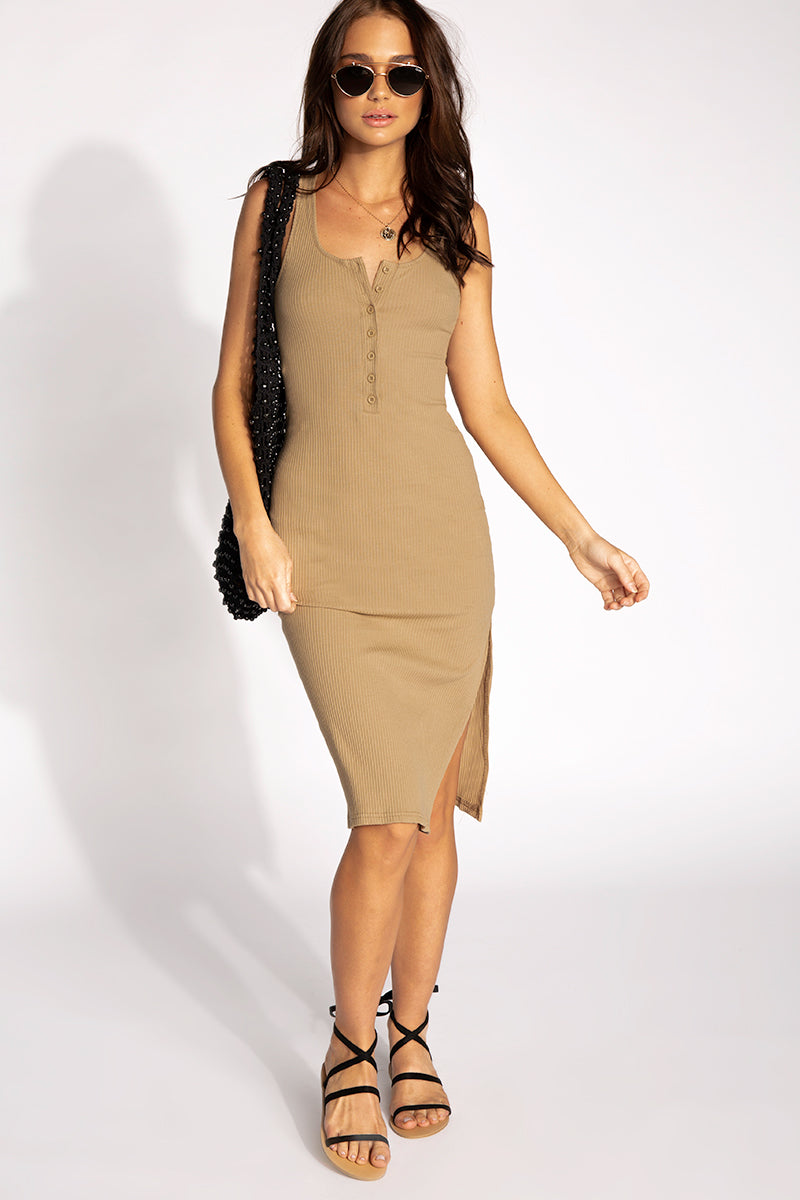 ALL MINE RIBBED BROWN MIDI DRESS Clothing DISSH Boutiques M BROWN