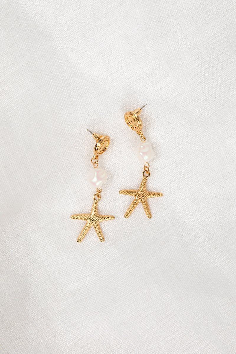 CROATIA GOLD STARFISH EARRINGS Accessories DISSH Boutiques O/S GOLD