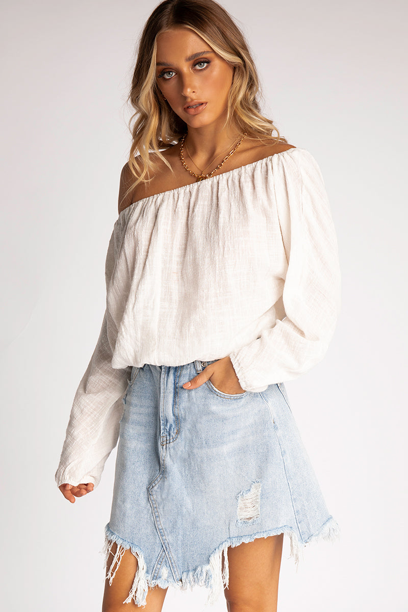 1f6bb8f84527c MAKE IT EASY WHITE OFF SHOULDER TOP Clothing DISSH Boutiques 6 WHITE ...