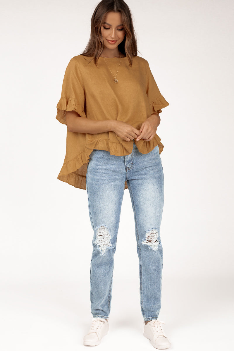 ONE DAY GOLDEN LINEN DROP FRILL TOP Clothing DISSH Boutiques L/XL YELLOW