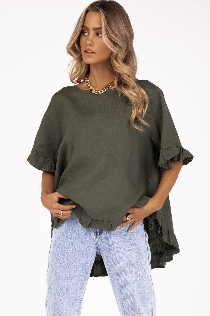 ONE DAY KHAKI LINEN DROP FRILL TOP Clothing DISSH Boutiques XS/S KHAKI