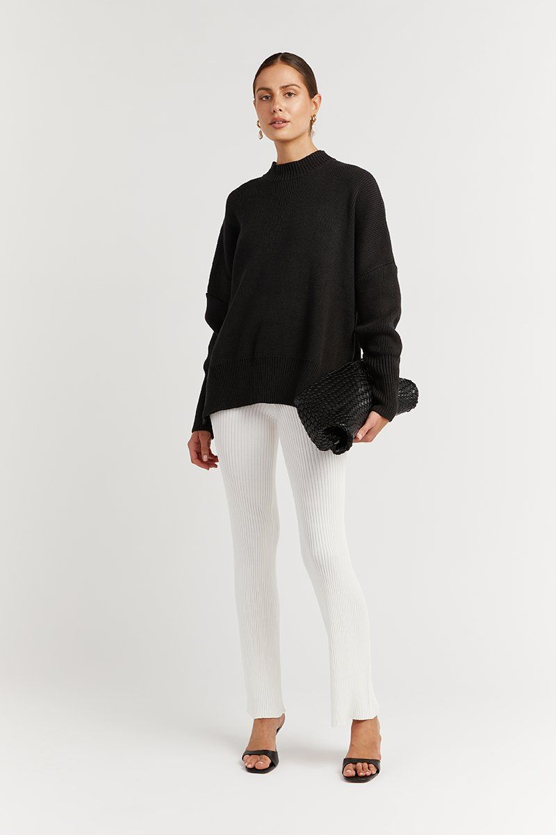 RILEY BLACK OVERSIZED KNIT JUMPER Clothing DISSH Boutiques