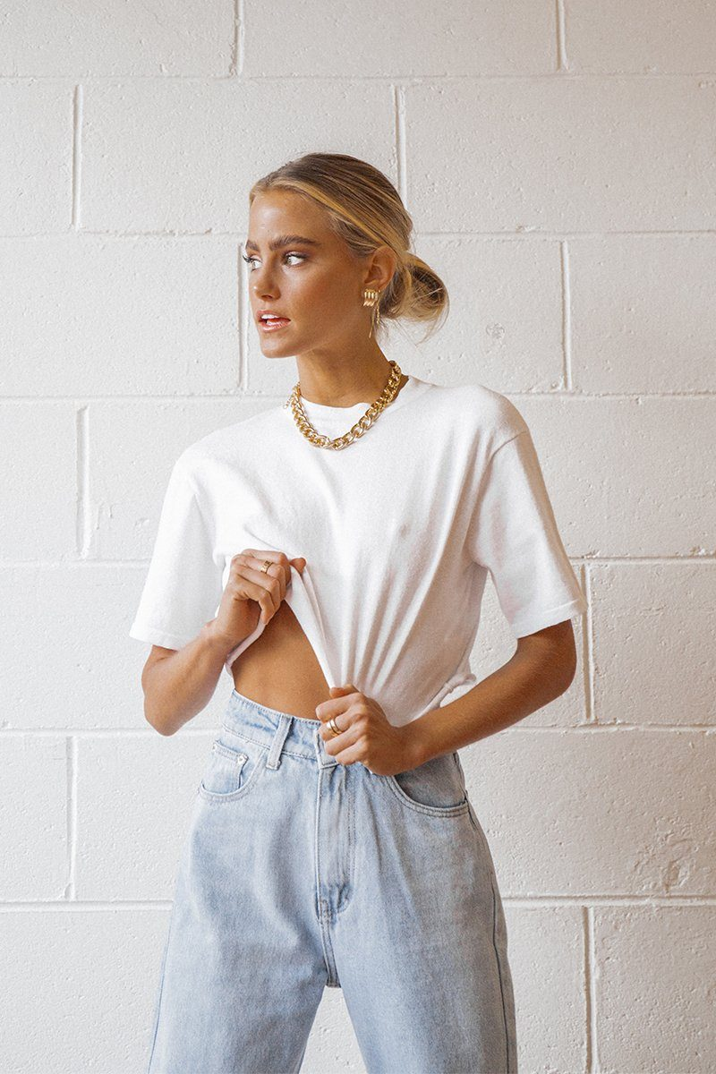 TRENDY WHITE KNIT CROPPED TEE Clothing DISSH Boutiques S WHITE