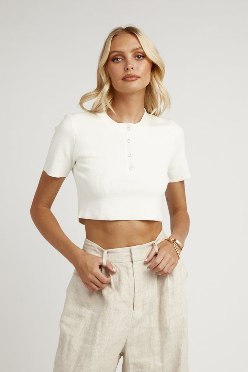 ODESSA WHITE RIB KNIT TOP Clothing DISSH Boutiques
