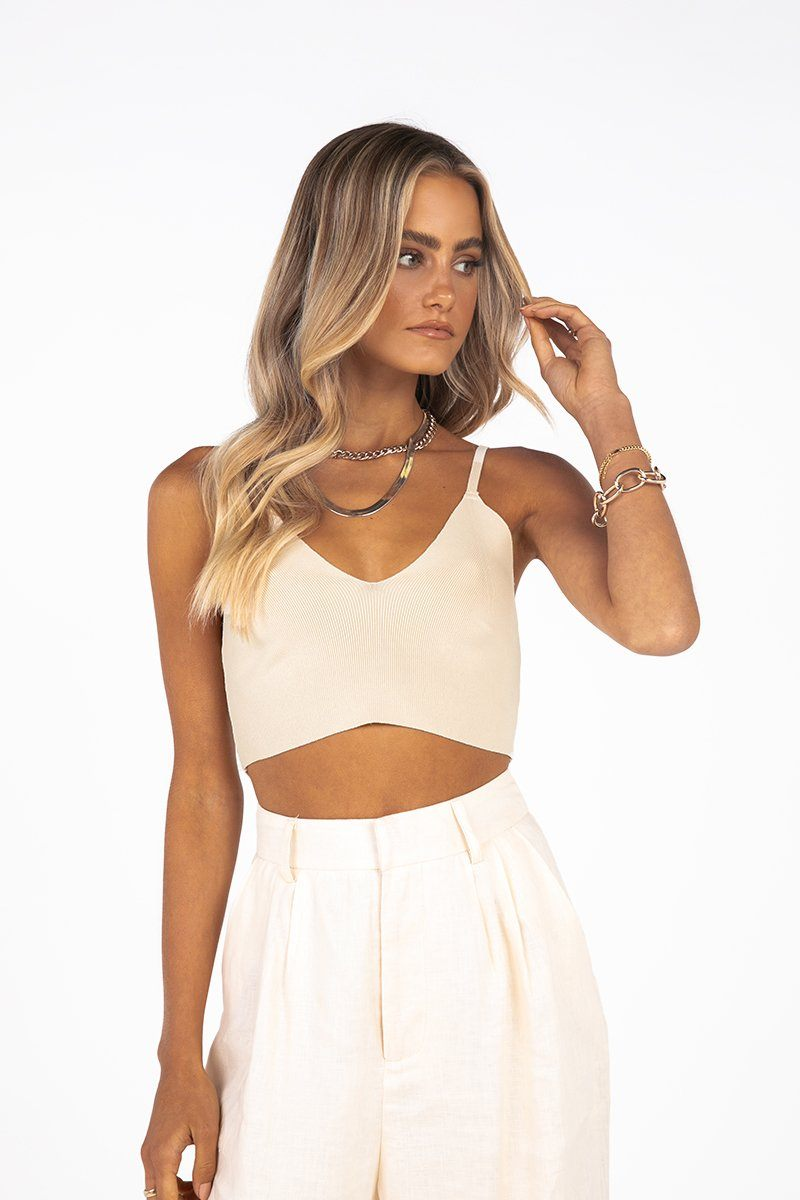 DEBUT CREAM KNIT CROP TOP Clothing DISSH Boutiques 10 CREAM