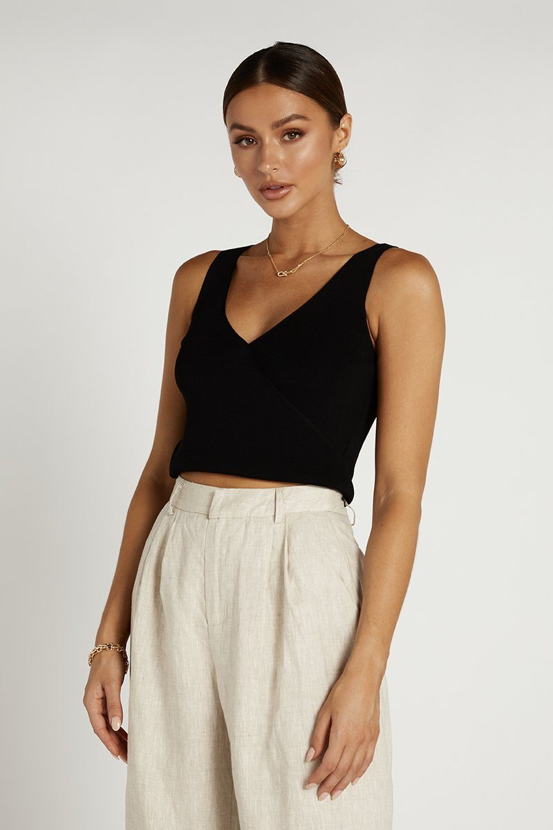 SKYE CROSS FRONT BLACK KNIT TOP Clothing DISSH Boutiques