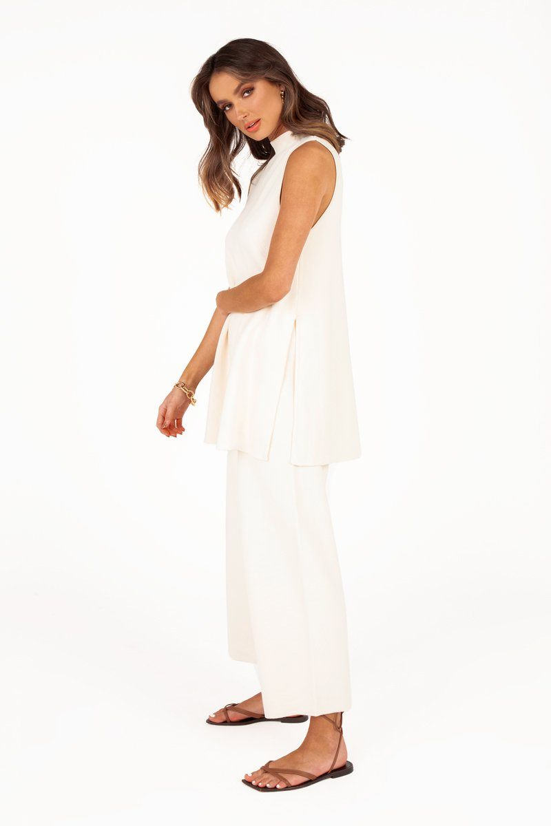 MABEL WHITE KNIT CULOTTE PANT Clothing DISSH Boutiques 6 WHITE