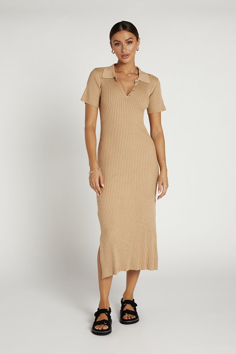 PIPER CAMEL RIB KNIT MIDI DRESS Clothing DISSH Boutiques 6 CAMEL