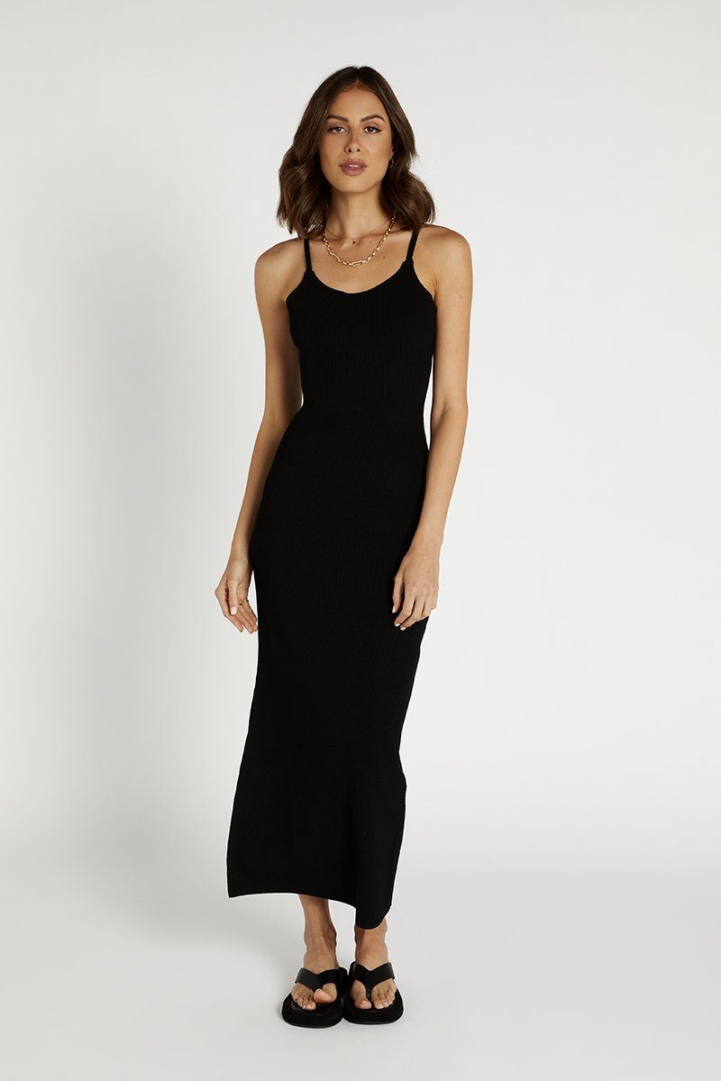 RAVEN BLACK KNIT MIDI DRESS Clothing DISSH Boutiques