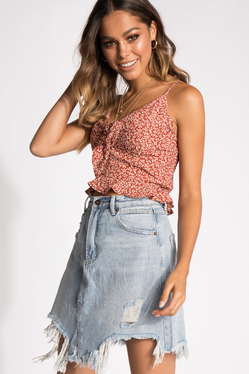d832bff09a69d ... 6 RUST LIKE WILDFIRE TIE FRONT CROP TOP Clothing DISSH ...