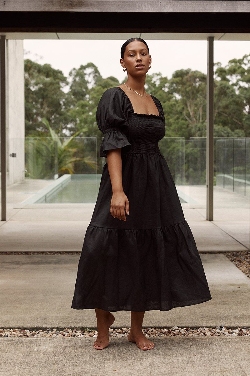 SARE SHIRRED BLACK LINEN MIDI DRESS Clothing DISSH Boutiques