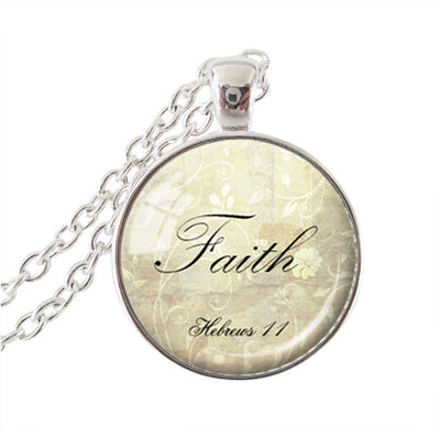 Silver Bible Quote Pendant Necklace