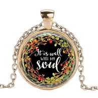 It Is Well with My Soul Glass Cabochon Necklace