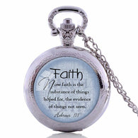 HEBREWS 11:1 Bible Quote Pocket Watch Necklace