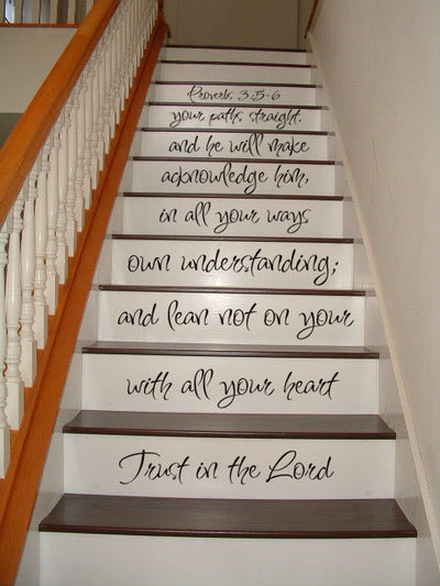 Proverbs 35-6 Bible Quote Staircase Decal