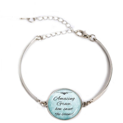 Silver Bible Quote Pendant Bracelet